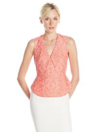 BCBGMAXAZRIA Womenand39s Rena Lace Woven Peplum Top at Amazon