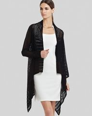 BCBGMAXAZRIA Wrap Cardigan - Layla Pointelle in Black at Bloomingdales