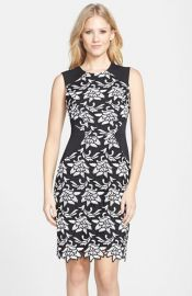 BCBGMAXAZRIA and39Laurineand39 Floral Lace Overlay Sheath Dress at Nordstrom