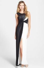 BCBGMAXAZRIA and39Ninahand39 Colorblock Overlay Twist Front Gown at Nordstrom