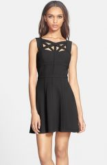 BCBGMAXAZRIA and39Yasminkaand39 Cutout Crepe Fit andamp Flare Dress at Nordstrom