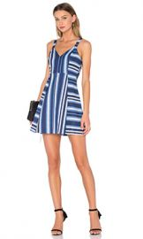 BCBGeneration Cocktail Striped V Neck Dress in Navy Combo from Revolve com at Revolve