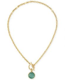 BCBGeneration Gold-Tone Green Stone Toggle Pendant Necklace at Macys