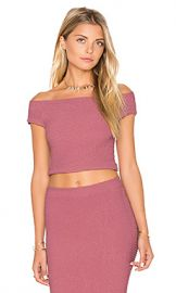 BCBGeneration Off Shoulder Crop Top in Mauve from Revolve com at Revolve