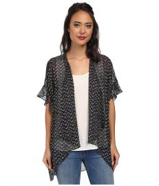 BCBGeneration Ruffle Sleeve Cover-Up Black Combo at Zappos