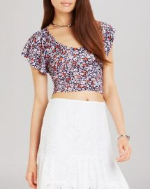 BCBGeneration Ruffle Sleeve Crop Top at Bloomingdales