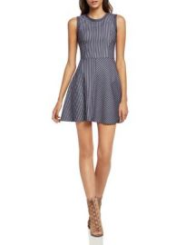 BCBGeneration Sleeveless Stripe Flare Dress at Bloomingdales