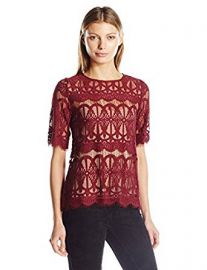 BCBGeneration Women s Lace Tunic Top at Amazon