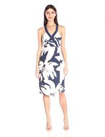 BCBGeneration Women s Printed Faux-Wrap Midi Dress at Amazon