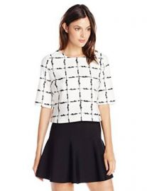 BCBGeneration Womenand39s Short-Sleeve Grid-Print Top at Amazon
