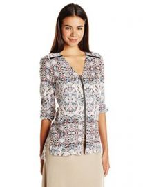 BCBGeneration Womenand39s Zip-Front Blouse at Amazon
