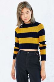 BDG Casey Rib-Knit Cropped Sweater in navy yellow at Urban Outfitters