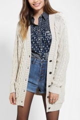 BDG Fisherman Cardigan in White at Urban Outfitters