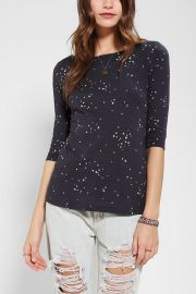 BDG Printed 34 Sleeve Boatneck Tee in black at Urban Outfitters