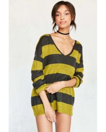 BDG Stripe Oversized Pullover Sweater Yellow at Urban Outfitters