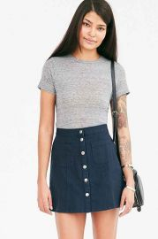 BDG Twill Button-Front A-Line Skirt at Urban Outfitters