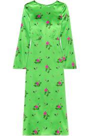 BERNADETTE - Neon floral-print silk-blend satin midi dress at Net A Porter