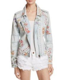 BLANKNYC Floral Embroidered Denim Moto Jacket at Bloomingdales