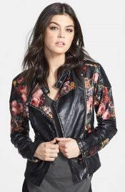 BLANKNYC Floral Faux Leather Jacket at Nordstrom
