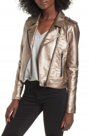 BLANKNYC Metallic Faux Leather Moto Jacket at Nordstrom