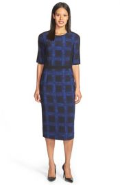 BOSS and39Dikanaand39 Windowpane Print Sheath Dress at Nordstrom