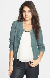 BP Cropped Textured Cotton Cardigan in blue at Nordstrom