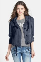 BP Hooded Crop Chambray Jacket at Nordstrom Rack