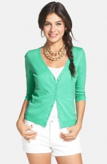 BP V-Neck Three-Quarter Sleeve Cardigan in green at Nordstrom
