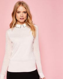 BRAYDEY Embellished collar silk-blend sweater at Ted Baker