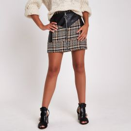 BROWN CHECK FAUX LEATHER BLOCK MINI SKIRT at River Island