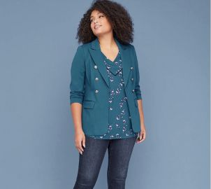 BRYANT BLAZER - FAUX DOUBLE BREASTED PONTE at Lane Bryant