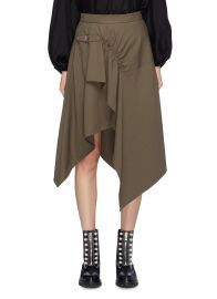 BUCKLED RUCHED DRAPE WOOL GABARDINE HANDKERCHIEF SKIRT at Lane Crawford