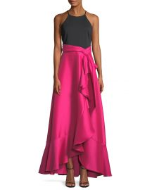 Badgley Mischka Collection Two-Tone Halter-Neck Ruffle Gown at Neiman Marcus