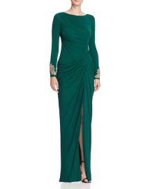Badgley Mischka Draped Gown  green at Bloomingdales
