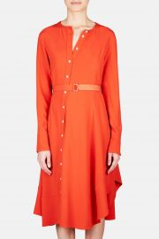 Baelle Asymmetric Button Shirt Dress - Persimmon at The Line