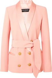 Balmain   Belted double-breasted crepe blazer at Net A Porter