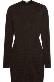 Balmain   Croc-effect knitted mini dress at Net A Porter