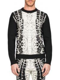 Balmain - Devore Crocodile-Motif Sweater at Saks Fifth Avenue