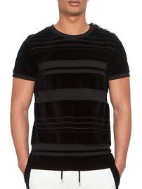 Balmain - Striped Button-Shoulder Velvet Tee at Saks Fifth Avenue