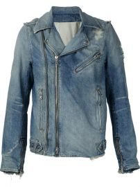 Balmain Destroyed Denim Biker Jacket - at Farfetch