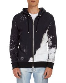 Balmain Distressed-Print Zip-Front Hoodie at Neiman Marcus