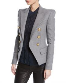 Balmain Double-Breasted Wool-Cashmere Flannel Blazer at Neiman Marcus