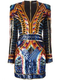 Balmain Embellished Sequin Fitted Dress at Farfetch