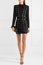 Balmain Lace-up stretch-jersey mini dress at Net A Porter