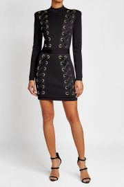 Balmain Mini Dress with Lace-Up Detail at Stylebop