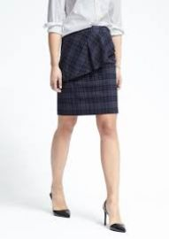 Banana Republic Plaid Asymmetrical Peplum Skirt  at Banana Republic