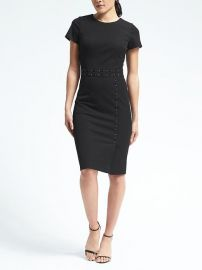 Banana Republic Short-Sleeve Bistretch Stitched Waist Dress at Banana Republic
