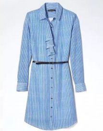 Banana Republic Stripe Ruffle Front Shirtdress at Banana Republic