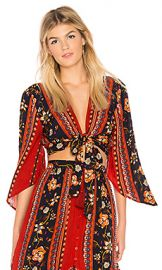 Band of Gypsies Bohemian Tie Front Blouse in Rust  amp  Navy from Revolve com at Revolve
