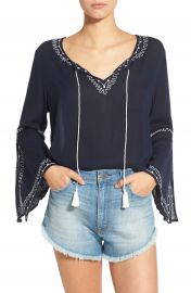 Band of Gypsies Embroidered Bell Sleeve Blouse at Nordstrom